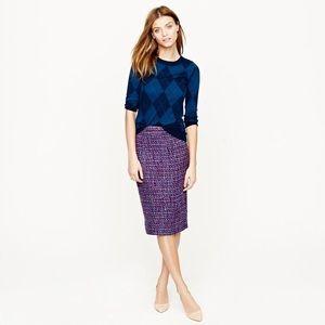 {J. CREW} No. 2 Pencil Skirt in Multi-Color Tweed